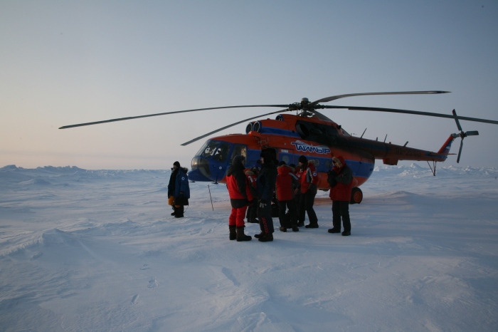 Helicopter and all of us at the North Pole