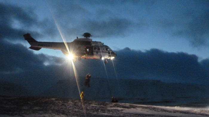 Rescue helicopter in action.