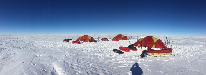One of many camps. Steady temperatures - 27 C to - 32 C.