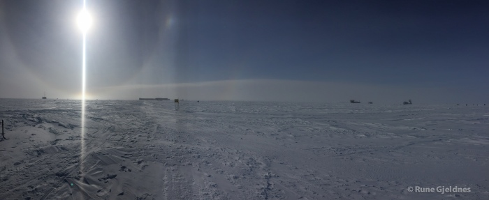 South Pole station area in distance.