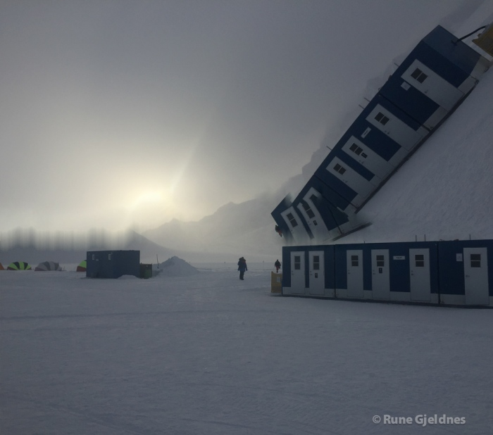 Windy day in Union Glacier, waiting for good flight weather.
